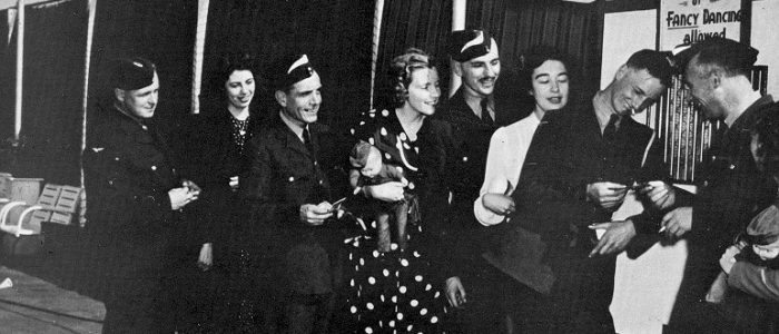 RCAF LAC's at Sunnyside Fresh Air Dance 1942 with the Jack Evans Orchestra - The white Flashes on the caps signified Air Crew in Training